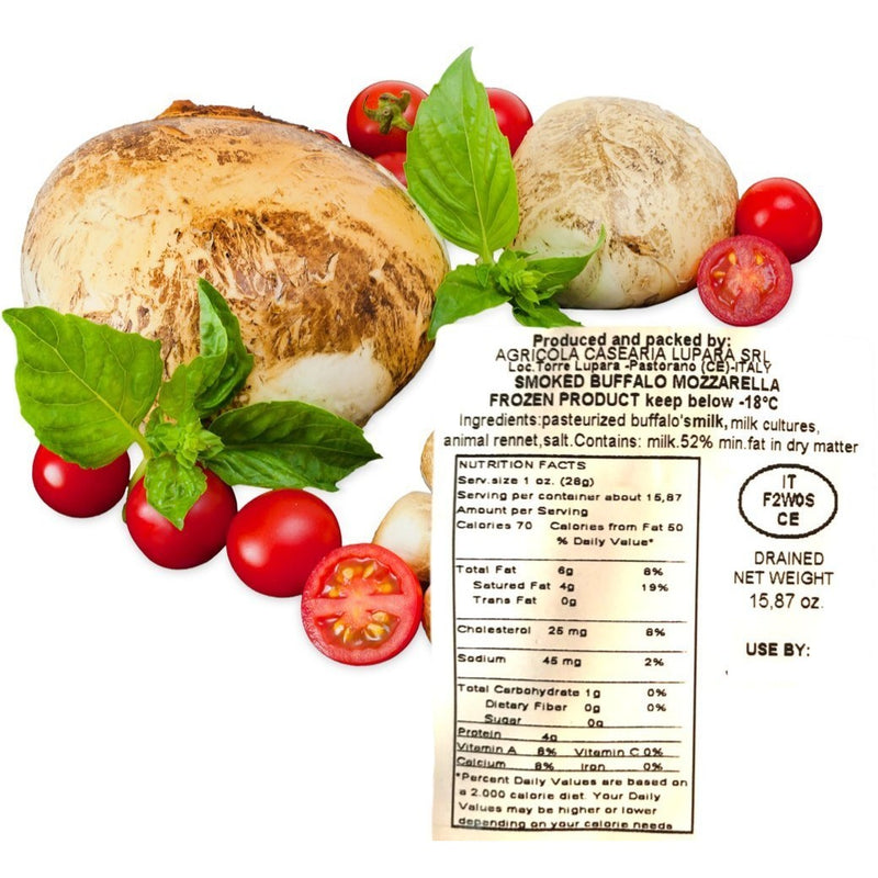 Frozen Buffalo Smoked Mozzarella from Campania by Lupara - 15.87 oz. - Italian Food Online Store