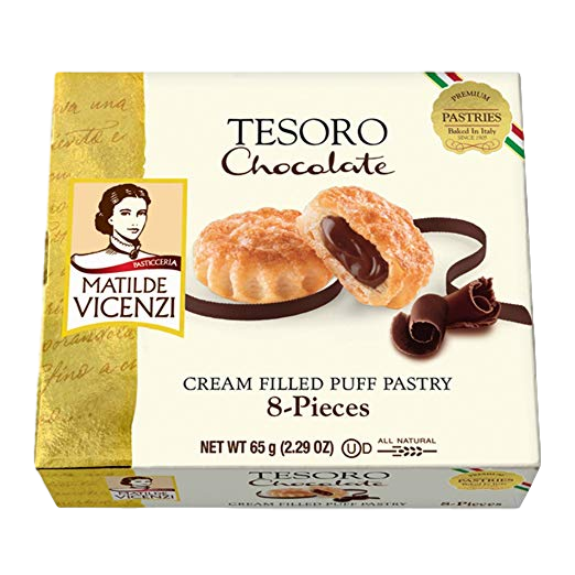 Chocolate Cream Filled Puff Pastry Tesoro by Vicenzi - 2.29 oz. - Italian Food Online Store