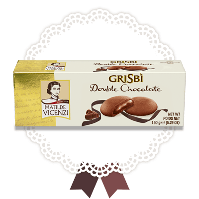 Grisbì Double Chocolate Cream filled Cookies by Vicenzi - 5.29 oz.