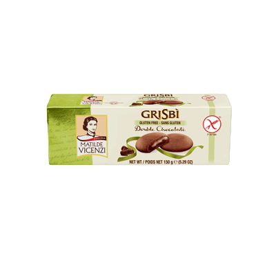 Grisbì Double Chocolate Cream filled Gluten Free Cookies by Vicenzi - 5.29 oz. - Italian Food Online Store