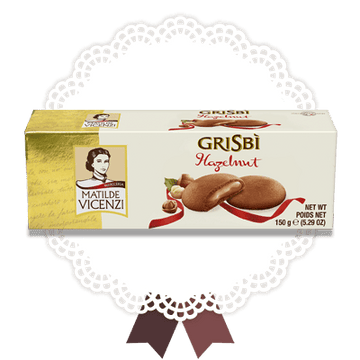 Grisbì Hazelnut Cream filled Cookies by Vicenzi - 5.29 oz. - Italian Food Online Store