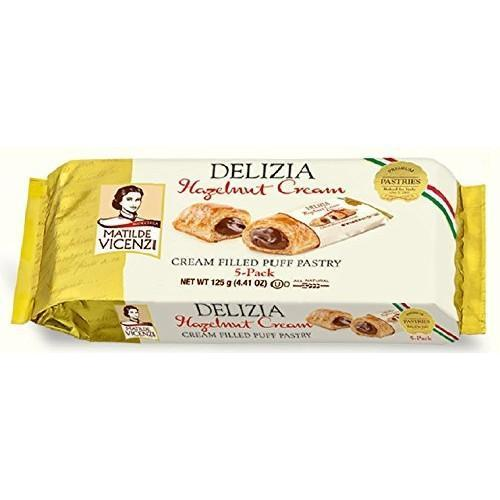 Hazelnut Cream Filled Puff Pastry Delizia by Vicenzi - 4.41 oz. - Italian Food Online Store