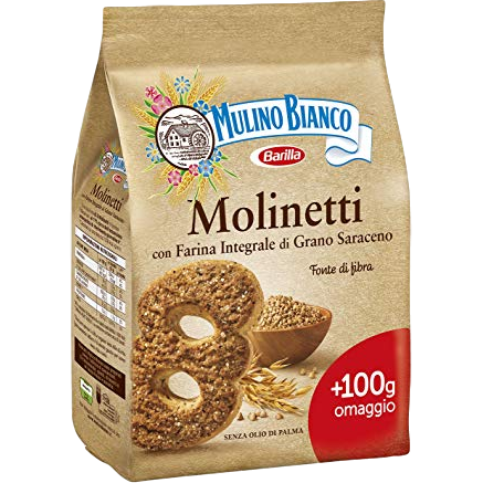 Mulino Bianco Cookies Molinetti Shortbread cookies with flour buckwheat and brown sugar by Mulino Bianco - 28.2 oz.