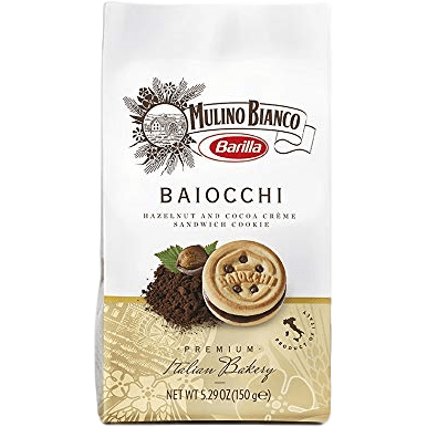 Mulino Bianco Sweet Bakery Cookies with Hazelnut and Cocoa Cream Baiocchi by Mulino Bianco - 5.29 oz.
