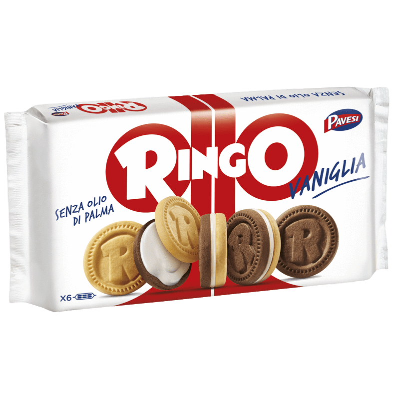 Pavesi Sweet Bakery Ringo Vaniglia Cookies with Vanilla Cream by Pavesi (6 packs) - 11.6 oz