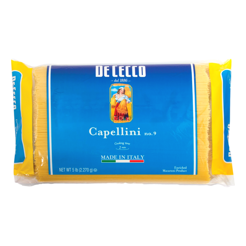 Angel Hair Capellini Pasta Bulk #9 from Italy (4 packs x 5 lb) by De Cecco - 20 lb