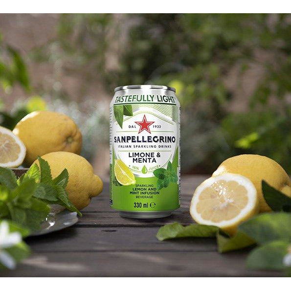 Sanpellegrino Italian Sparkling Lemon & Mint Beverage, 11.15 fl. oz. x 12 (Pack of 12)