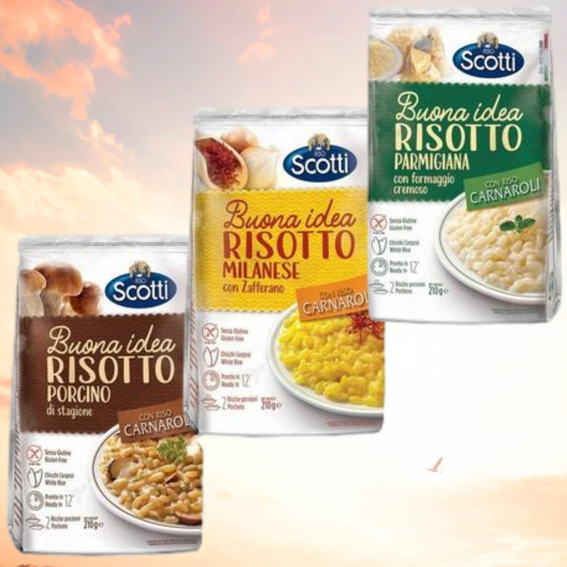 Scotti Rice Risotto Bundle Suffron + Mushrooms + Parmesan with Carnaroli Rice (3 packs) by Scotti