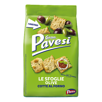 "Crackers with Black and Green Olives Oven Baked ""Le Sfoglie"" by Pavesi - 5.6 oz"