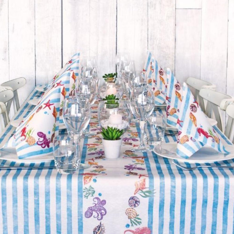 Table Set for 10 People Summer Light Blue Color by Pack Service Italia