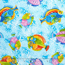 Jewels of the Seam Fish on Blue