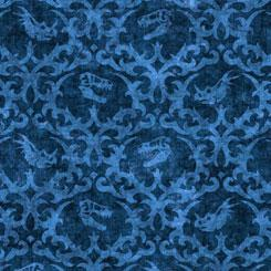 Lost World Dino Damask Blue