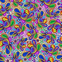 Carnivale Paisley and Dots on White Background