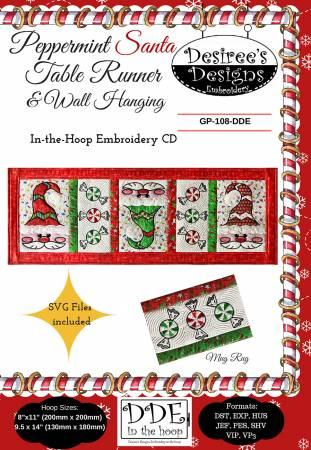 Pepperment Santa Table Runner & Wall Hanging
