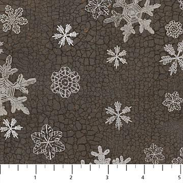 North Ridge Dk Gray Snowflakes Cotton Flannel