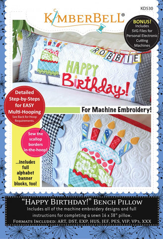"Kimberbell ""Happy Birthday!"" Bench Pillow"