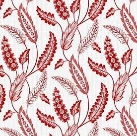 Redwork Revival red fern on white