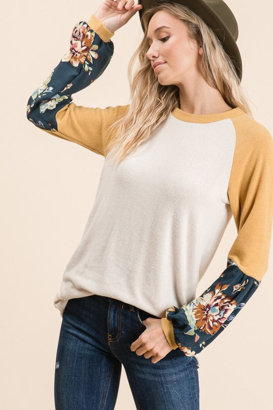Raglan Knit top with contrasting sleeve