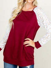 Lace sleeve casual pullover