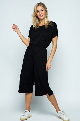 Black Short Sleeve Romper with Cage Back