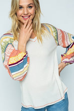 Peaches and Cream Waffle Knit long sleeve top