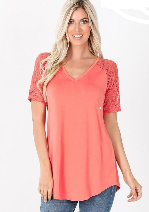 Coral Lace Sleeve Vneck Top