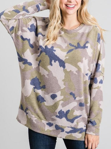 Camo Blues fleece pullover sweatshirt