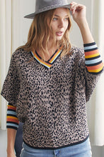 Retro stripes dolman cheetah sweater