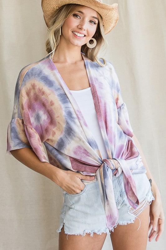 Tie Dye ruffled sleeve cardigan