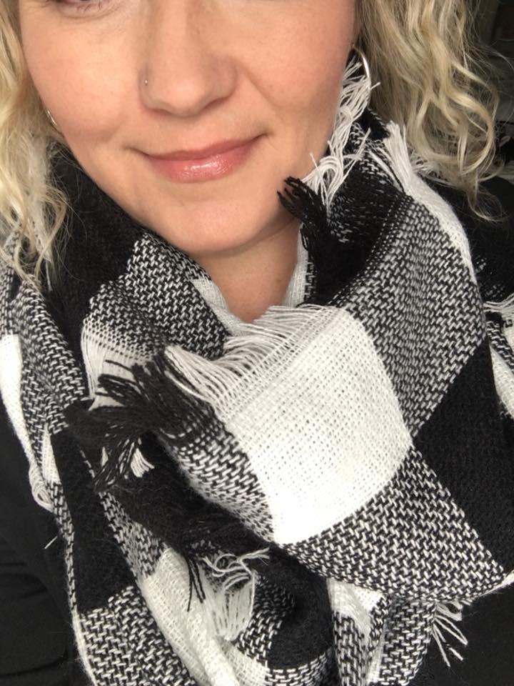 Black and White Plaid Infinity Scarf