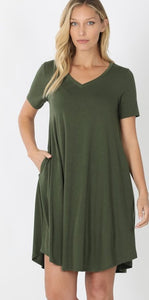Olive Green Cotton Midi Dress