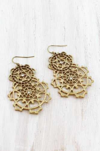Goldtone stacked filigree earrings