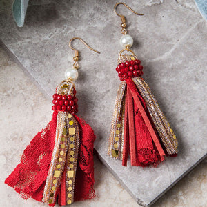 One Chance Fancy Pearl & Red Tassel earring