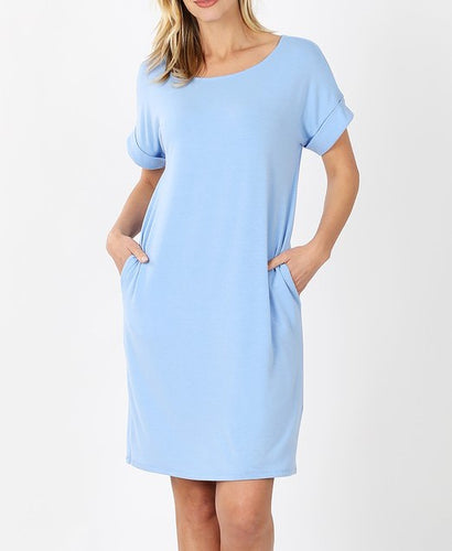 Short sleeve Spring Blue midi dress