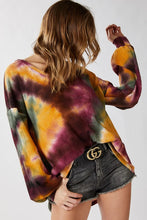 Thermal Tie Dye balloon sleeve Top