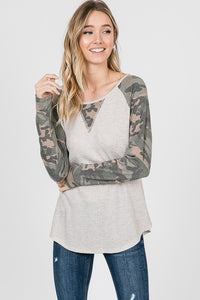 Cream & Camo Raglan long sleeve top