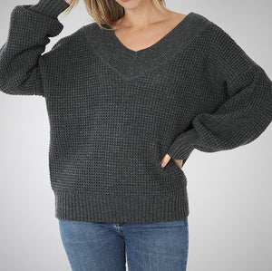 Barrin it all Charcoal grey sweater