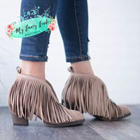 Taupe Fringe Bootie