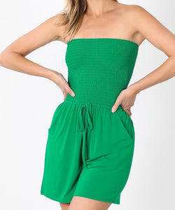 Smocked Top Romper Kelly Green