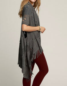 Grey Crochet Fringed Vest