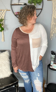 Mocha & Taupe Color blocked Top