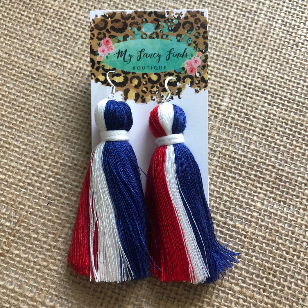 Grand Ole USA fringe earring