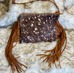 The June hand tooled Gold hide flecked purse