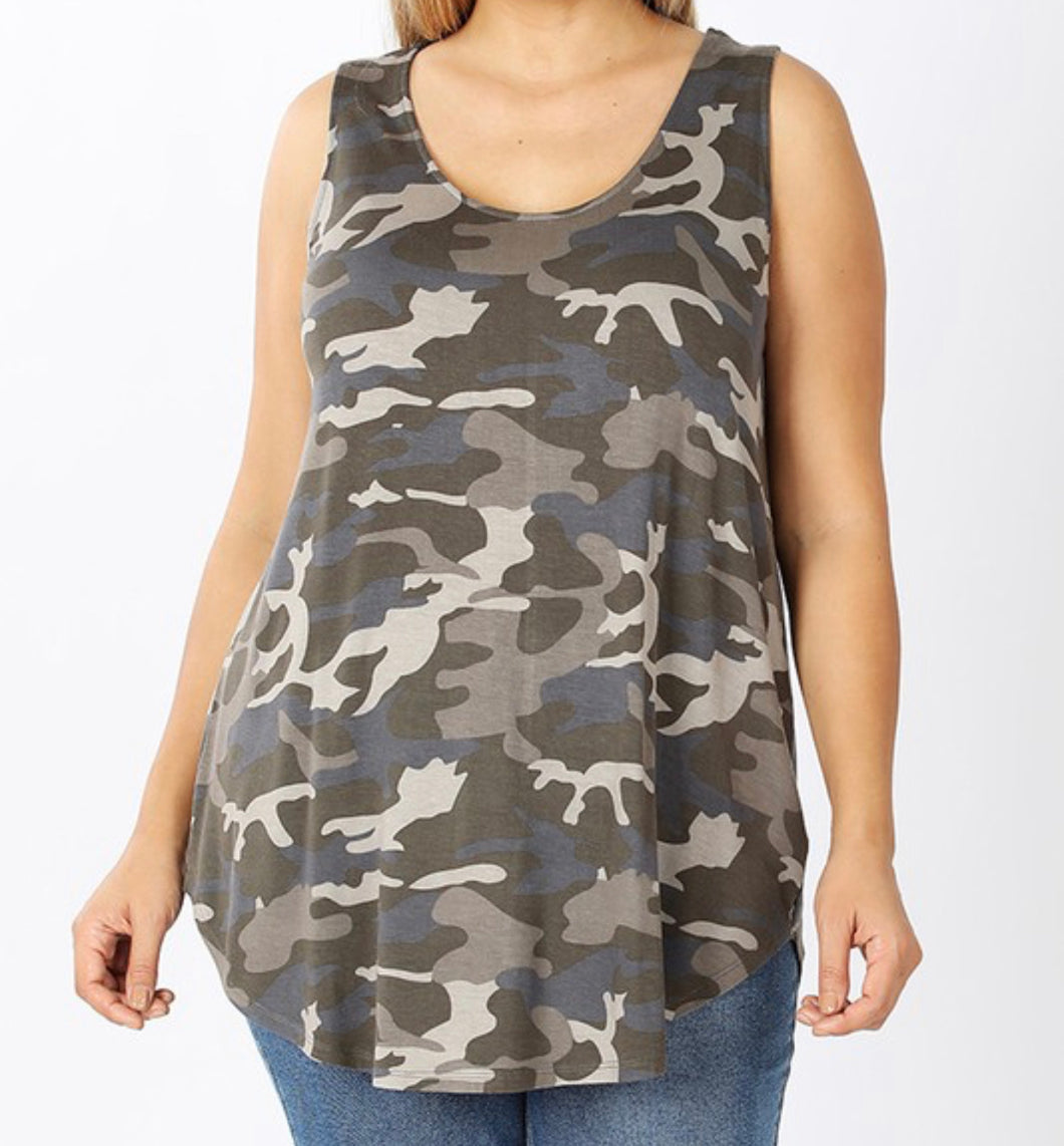 Dusty Camouflage Tank Plus size