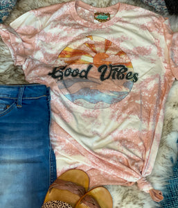 Good Vibes Bleached Graphic Tee