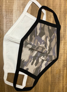 Camo or White Cloth Face Cover