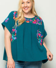 Teal Embroidered Short Sleeve Top