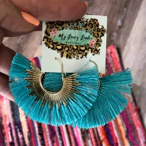 Fringe Sunburst Earrings in Turquoise