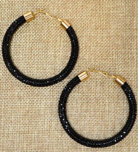 Black Magic Crystal Hoops
