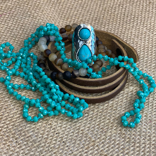 Petite turquoise faceted bead necklace